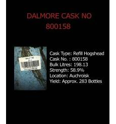 Dalmore Cask No. 800158 - Refill Hogshead - Held in Bond