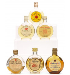 Assorted Round Flat Bottle Miniatures X6