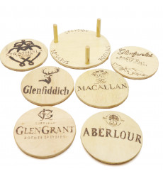 Handmade Wooden Coatsers (Speyside) X6 Including Stand