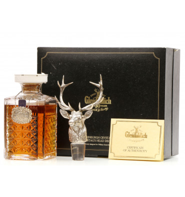 Glenfiddich 30 Years Old - Edinburgh Crystal Decanter & Silver Stag's Head Decanter