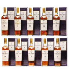 Macallan 18 Years Old Set - 1990 Through 2017 (10x 70cl)