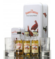 Famous Grouse Miniatures x2 with Glasses + Extra Miniature