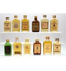 Assorted Flat Bottle Miniatures x12 - Incl Balvenie 8 Pure Malt