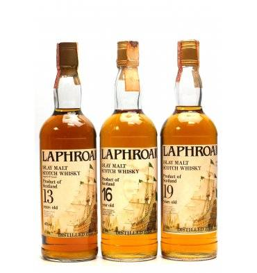 Laphroaig 13 Years Old 1973, 16 Years Old 1968 & 19 Years Old 1969 (75cl x3)
