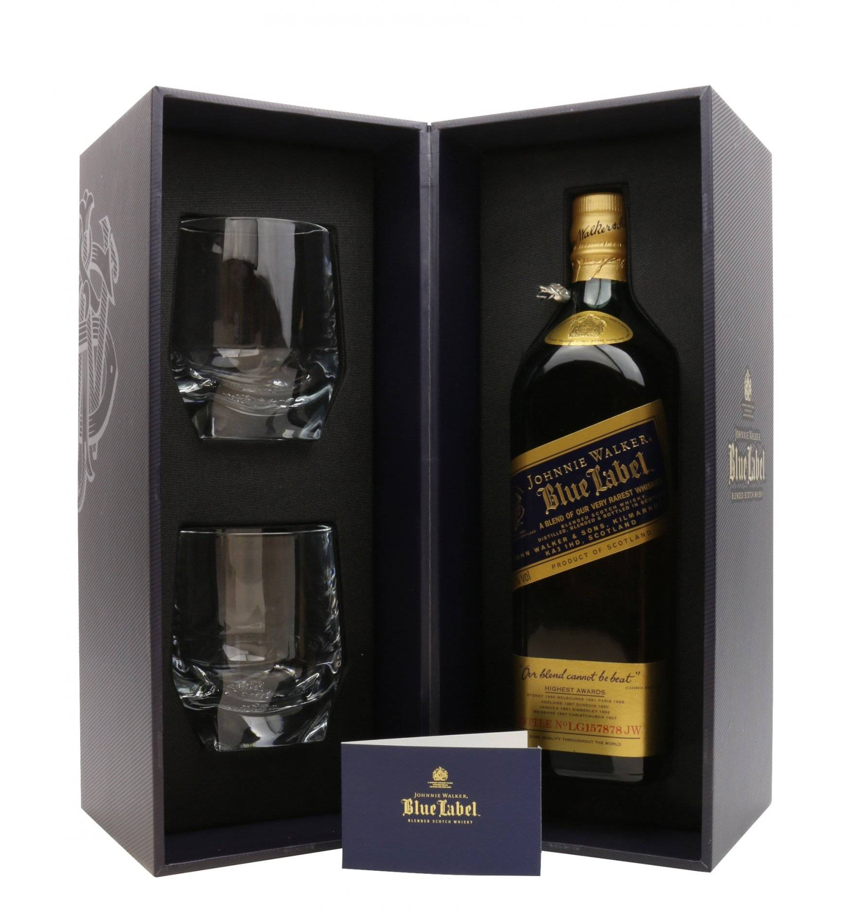 Johnnie Walker Blue Label - Limited Edition Gift Set with Crystal Glasses ...