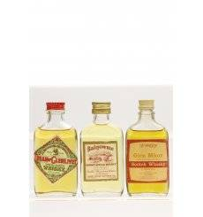 Assorted Flat Bottle Miniatures X3 Incl Glen Mhor 70 Proof