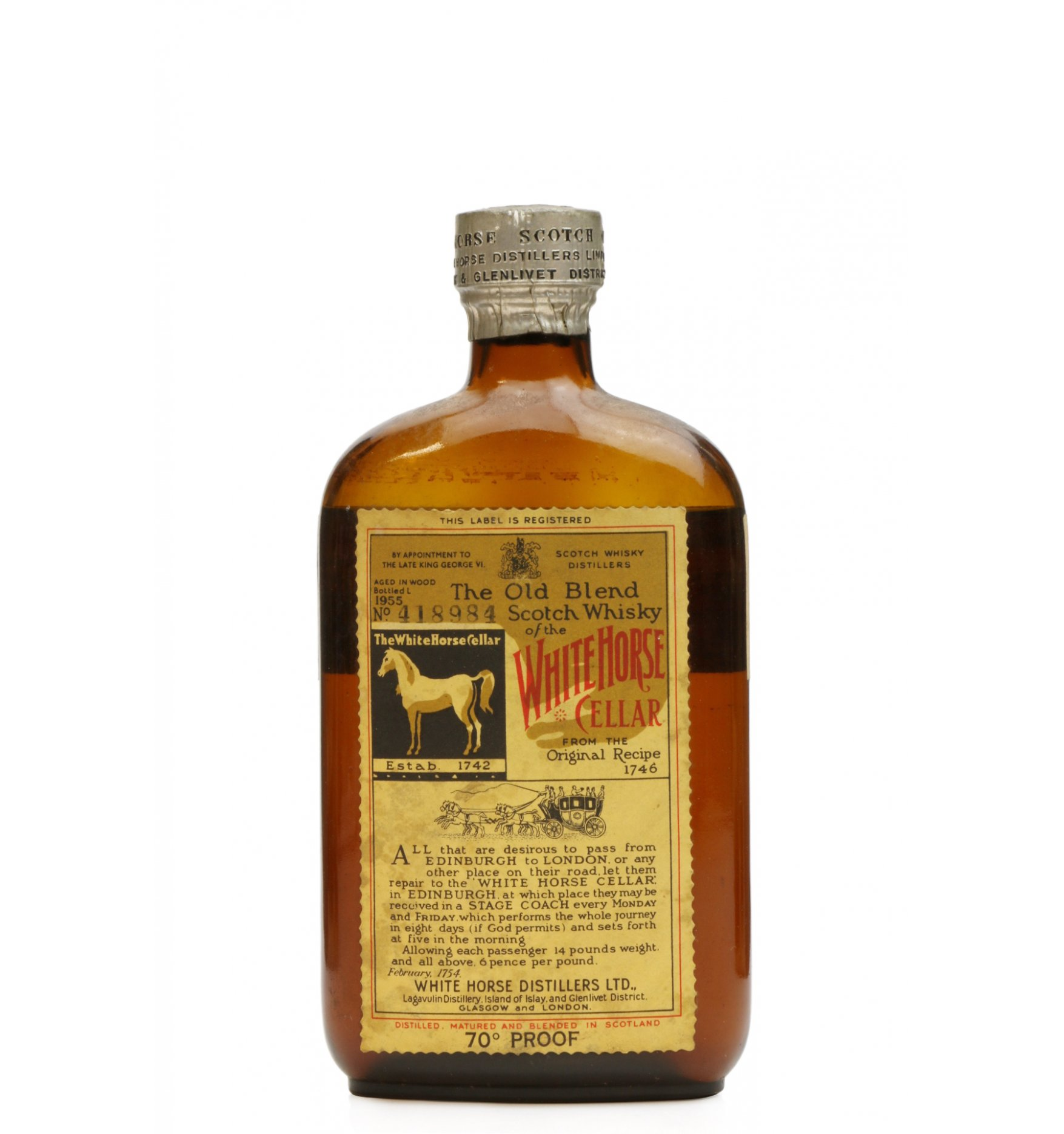 White Horse Cellar 1955 Half Bottle 70 Proof Just Whisky Auctions